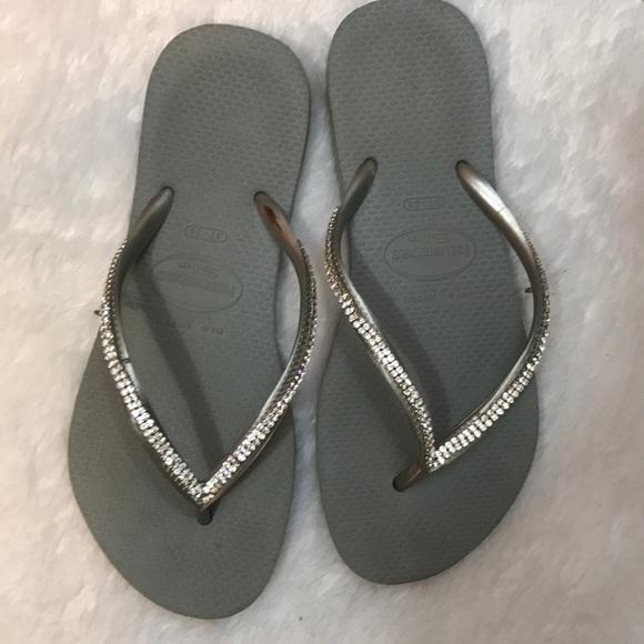 c6730a81bd0d Havaianas Shoes - Havaianas Slim grey sliver rhinestone flip flops